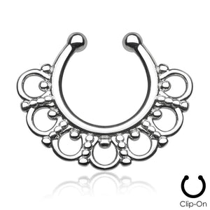 Selene silver clip-on septum piercing