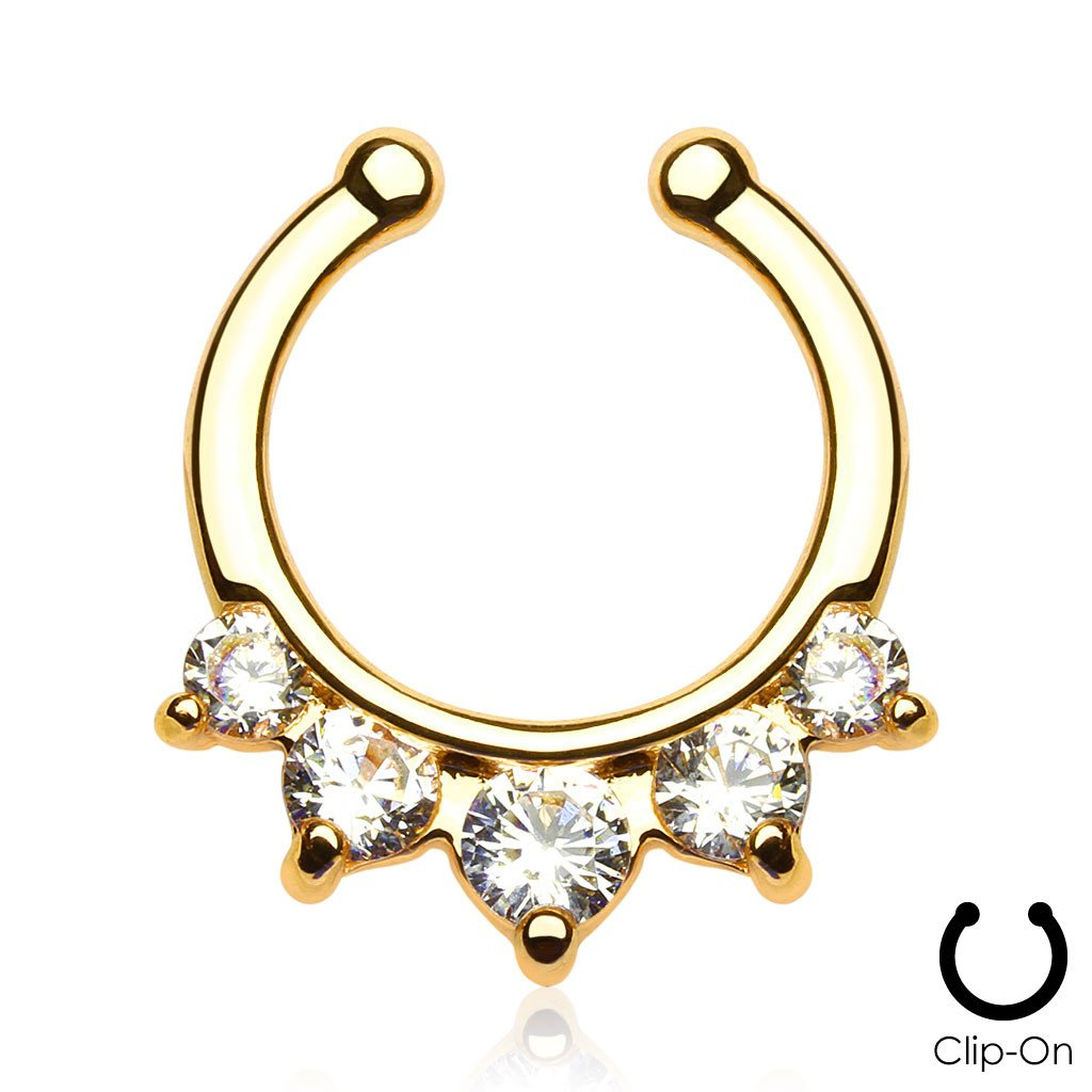 Iris gold clip-on septum piercing