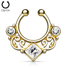 Load image into Gallery viewer, 'Kali' gold clip-on septum with clear stones