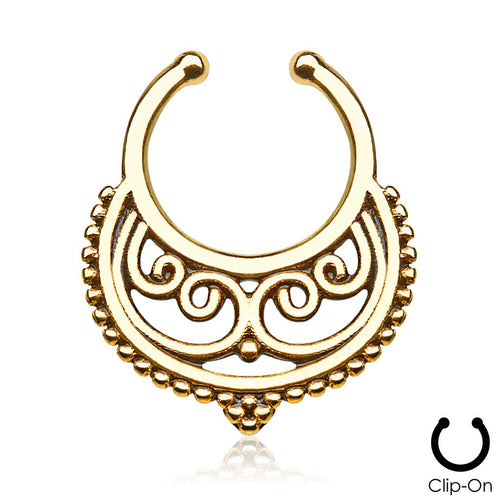 Persephone gold clip-on septum piercing