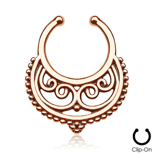 Persephone rose gold clip-on septum piercing
