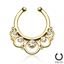 Load image into Gallery viewer, Minerva gold clip-on septum piercing with clear stones