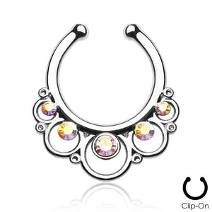 Minerva silver clip-on septum piercing with clear stones