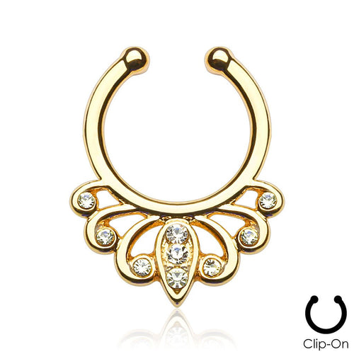 Juno gold clip-on septum piercing with clear stones