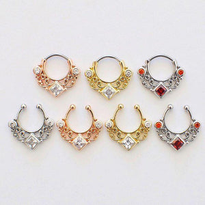 'Kali' silver clip-on septum with red stones