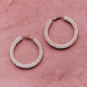 'Kiki' blush crystal hoop earrings