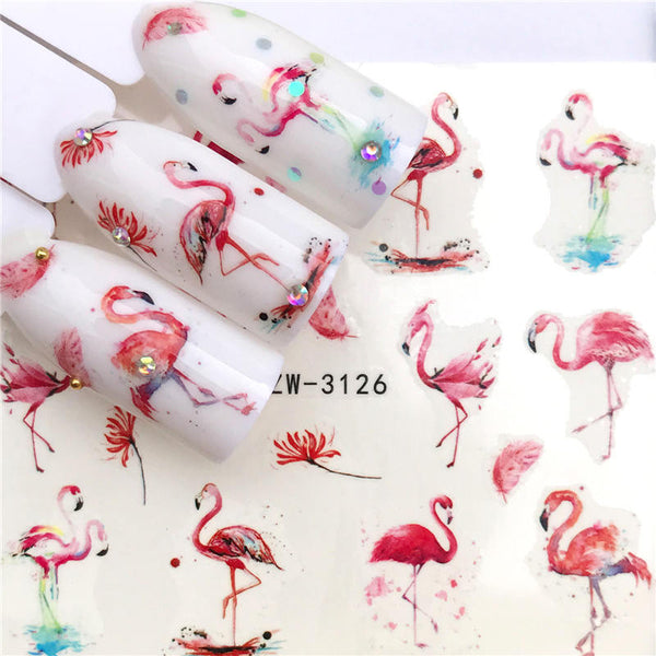 1 Sheet Nail Stickers Water Transfer Sticker Cartoon Flamingo