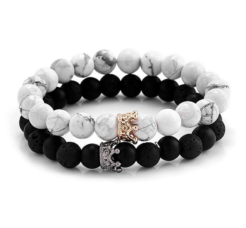 Lovers' White-Black Stone Bead Bracelet