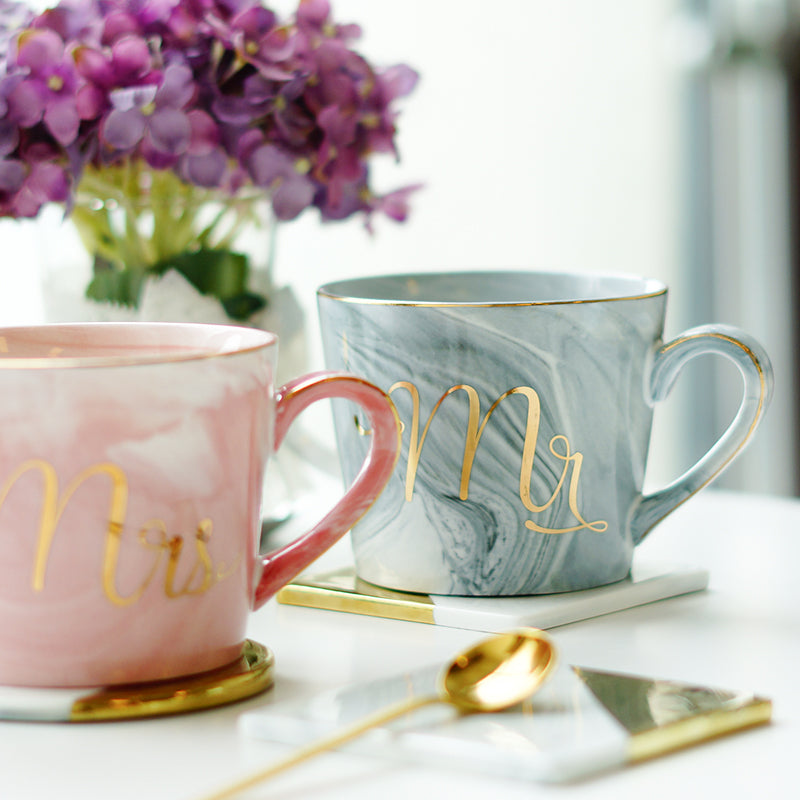 Mr and Mrs Hand-painted Gold Monogram Mugs