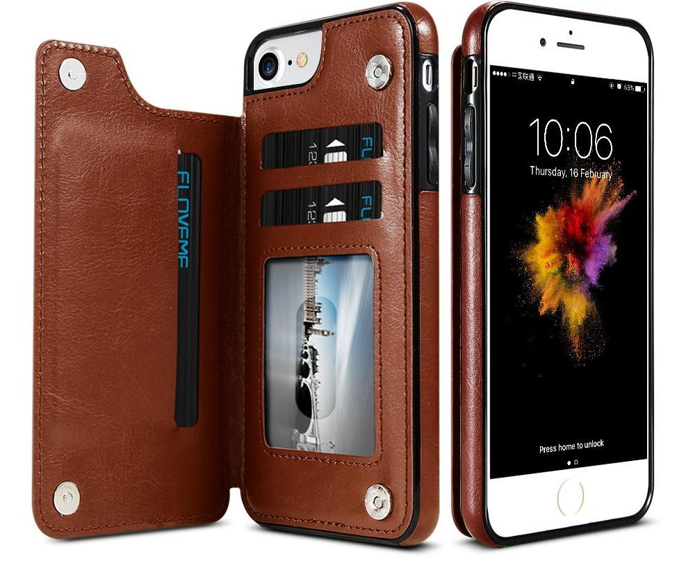 4-in-1 Luxury Leather Wallet Case For iPhone