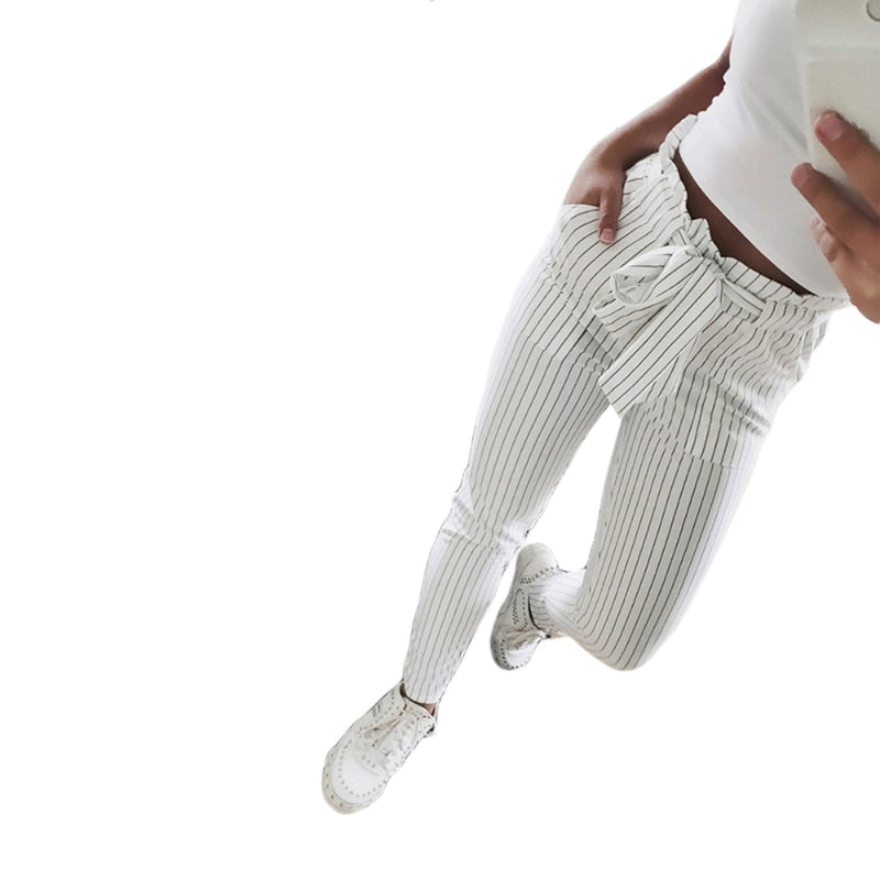 Women's Striped Trousers-Trend This