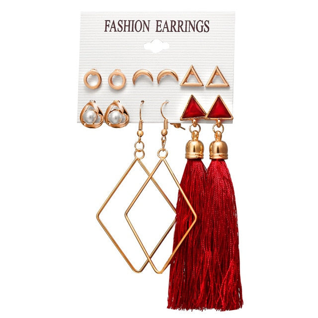 Bohemian Tassel and Stud Earring Set-Trend This