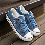 Vulcanized Denim Canvas Sneakers-Trend This