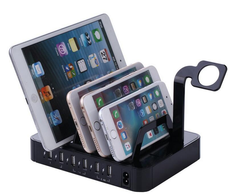 Multi Function Universal USB Charger  6 Ports Charging Station Dock Stand Holder For iPhone 7 6 6S Plus 5 Samsung xiaomi iwatch