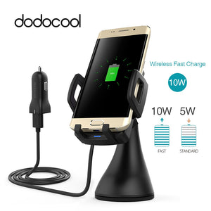 dodocool Qi Car Holder Fast Wireless Car Charger Charging Pad qi Wireless Charger for Samsung Galaxy S9 S8 / S8+ / S7 Edge