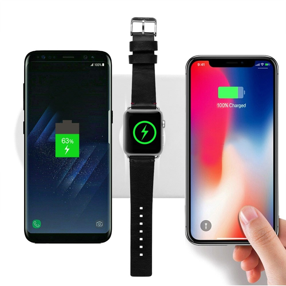3 in 1 Wireless Charger For iPhone X 8 8 Plus Wireless Charger Pad Fast Charge For Apple Watch 3 wireless Charger for Samsung