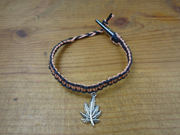 Black Coral Pot Leaf Roach Clip Hemp Bracelet - Beach Hemp Jewelry