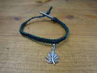 Black Hunter Green Pot Leaf Roach Clip Hemp Bracelet - Beach Hemp Jewelry