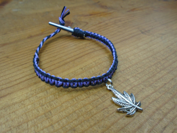 Black Lavender Purple Pot Leaf Roach Clip Hemp Bracelet - Beach Hemp Jewelry