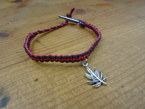 Black Red Pot Leaf Roach Clip Hemp Bracelet - Beach Hemp Jewelry