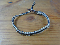Black Tan Roach Clip Hemp Bracelet Reversible - Beach Hemp Jewelry