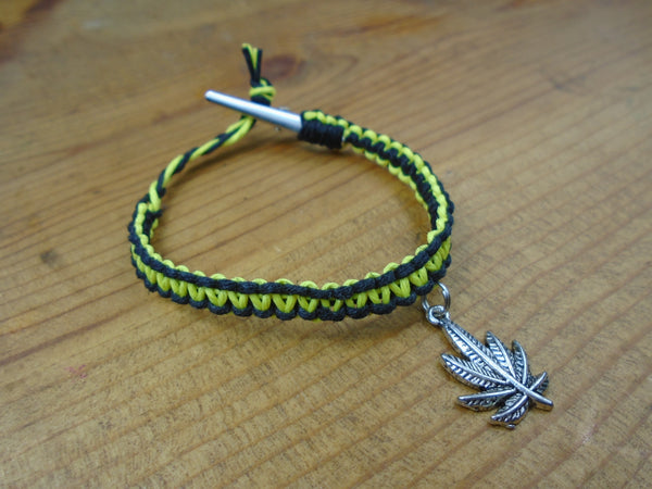 Black Yellow Pot Leaf Roach Clip Hemp Bracelet - Beach Hemp Jewelry