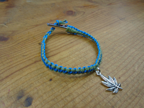 Blue Olive Green Pot Leaf Roach Clip Hemp Bracelet - Beach Hemp Jewelry