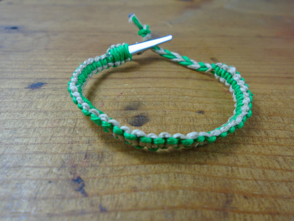 Green Tan Roach Clip Hemp Bracelet Reversible - Beach Hemp Jewelry