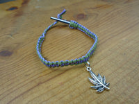 Lavender Purple Olive Green Pot Leaf Roach Clip Hemp Bracelet - Beach Hemp Jewelry