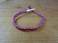 Orange Purple Roach Clip Hemp Bracelet Reversible - Beach Hemp Jewelry