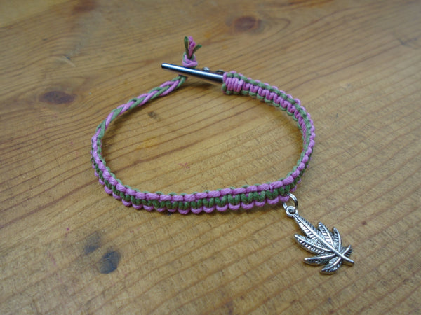 Pink Olive Green Pot Leaf Roach Clip Hemp Bracelet - Beach Hemp Jewelry
