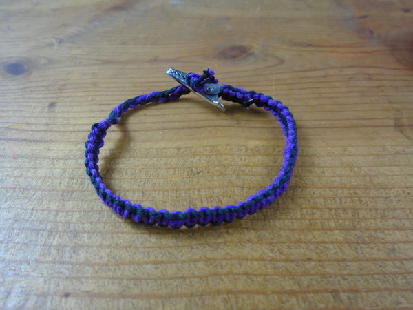 Purple Black Roach Clip Hemp Bracelet Reversible - Beach Hemp Jewelry