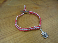 Red White Pot Leaf Roach Clip Hemp Bracelet - Beach Hemp Jewelry