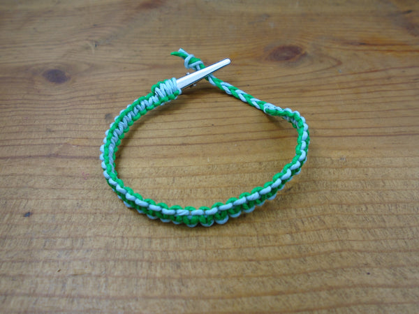 Green Sky Blue Roach Clip Hemp Bracelet Reversible - Beach Hemp Jewelry