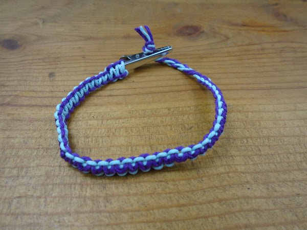 Purple Sky Blue Roach Clip Hemp Bracelet Reversible - Beach Hemp Jewelry