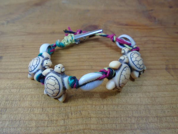 Shells and Turtles Roach Clip Hemp Bracelet - Beach Hemp Jewelry