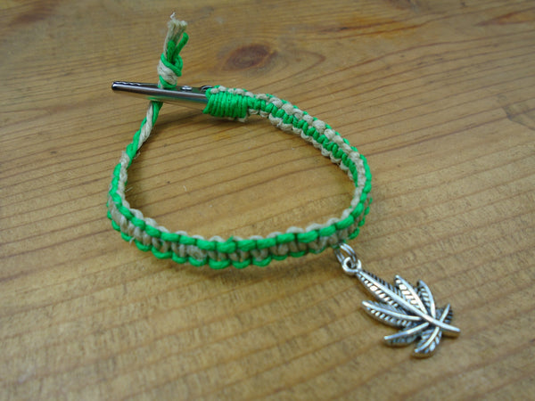 Tan Green Pot Leaf Roach Clip Hemp Bracelet - Beach Hemp Jewelry