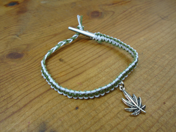 White Olive Green Pot Leaf Roach Clip Hemp Bracelet - Beach Hemp Jewelry
