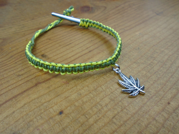Yellow Olive Green Pot Leaf Roach Clip Hemp Bracelet - Beach Hemp Jewelry