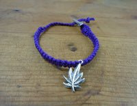 Pot Leaf Roach Clip Hemp Bracelet - Beach Hemp Jewelry