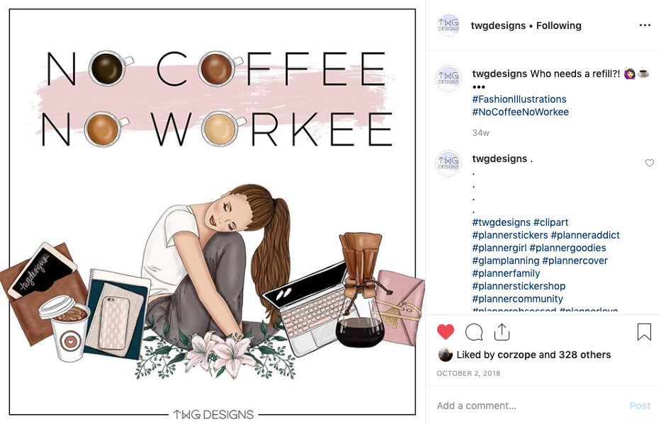 coffee clipart instagram post for TWG Designs