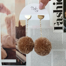 Load image into Gallery viewer, Pom Drop Earrings in Coconut