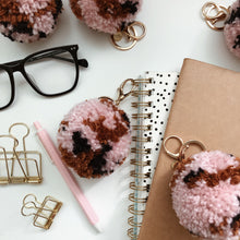 Load image into Gallery viewer, Pink Mocha - Pom Pom Keychain Charm