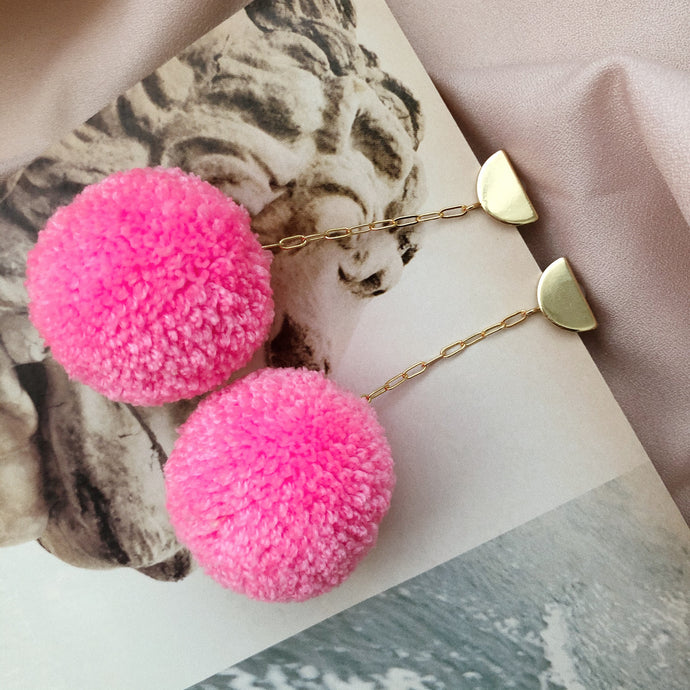 Pom Drop Earrings in Bubble Gum