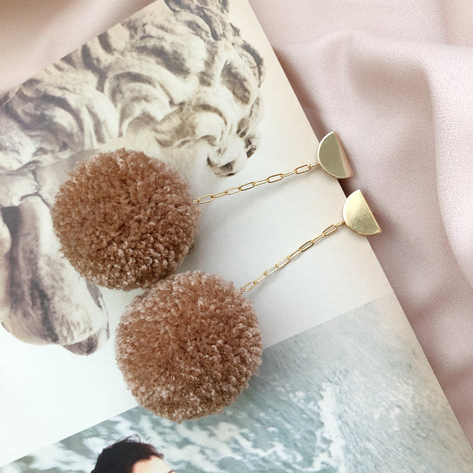 Pom Drop Earrings in Coconut