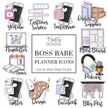 Load image into Gallery viewer, Planner Icons, Boss Babe - To Do Planner Icons - TWG Designs