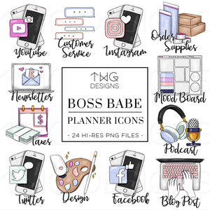 Planner Icons, Boss Babe - To Do Planner Icons - TWG Designs