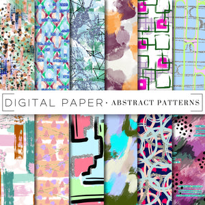 Digital Paper, Colorful Abstract Digital Paper Bundle - TWG Designs