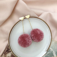 Load image into Gallery viewer, Pom Drop Earrings in Rosebud