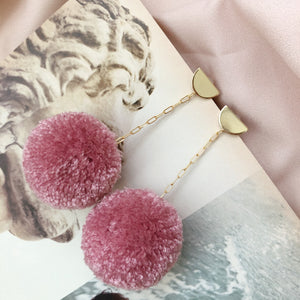Pom Drop Earrings in Rosebud